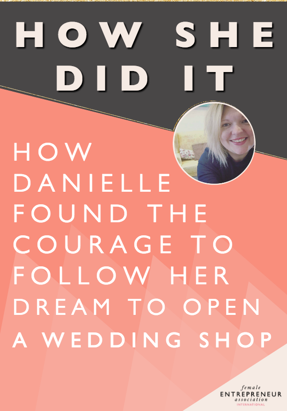 "Although Danielle has had a really successful wedding stationery business (She's won three awards) for almost eight years her dream was always to have a one-stop wedding shop - a place where both suppliers and clients could go to find inspiration, encouragement and support for their ideas and talent. She made excuses for years and held off on that dream because she was so scared to fail. She lost her sister Emma recently to brain cancer. After 18months of helping to nurse her, she witnessed first hand how belief and determination can help you accomplish amazing things..miracles even! Sadly it was too late for Emma, but Danielle made a promise to Emma and herself that she would follow her dream, that she would do it even if it scared her! Today, Danielle has her shop and has this to say: ""God am I scared but I believe now that it was just waiting for me to get my act together. I believe I manifested it at just the right time!"""